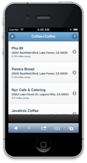 The Coffee+Coffee app Listings