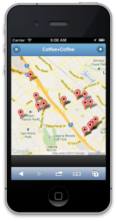 The Coffee+Coffee app Map